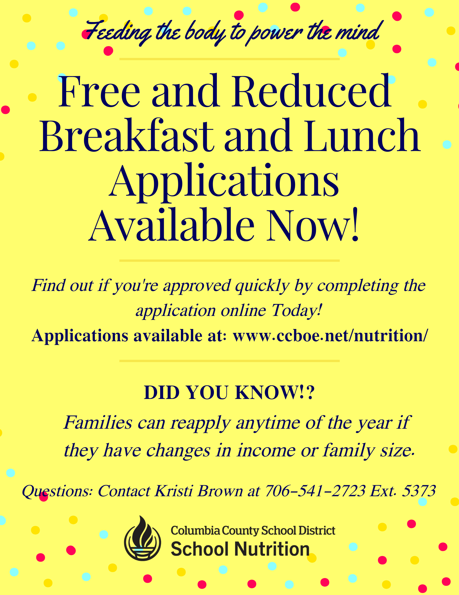 Free and Reduced Breakfast and Lunch applications infographic