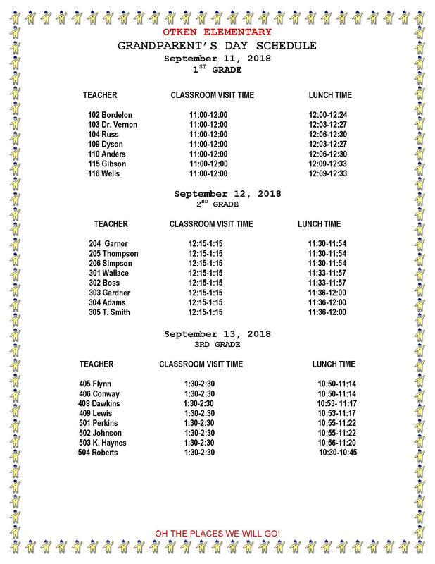 Grandparent's Day Schedule