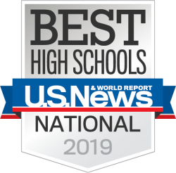 US News & World Report badge for 2019 Best High Schools in the Nation