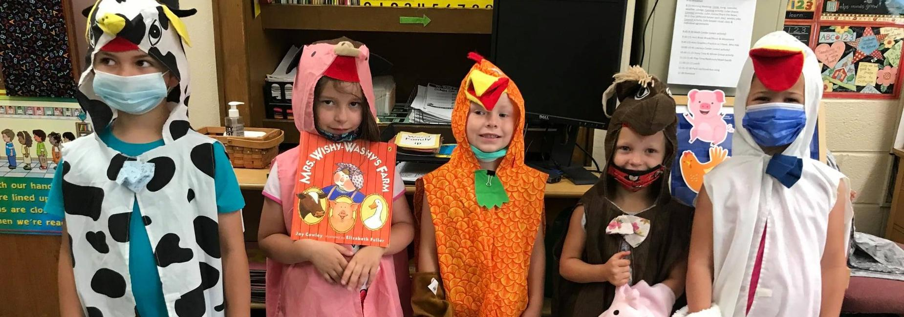 Sugar Grove Students dressed as animals from the book