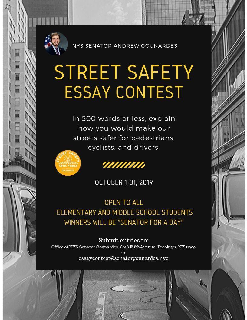 October 1 - 31, 2019 - Street Safety Essay Contest: