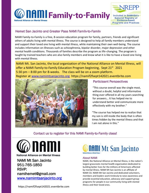 NAMI FAMILY TO FAMILY MENTAL HEALTH ZOOM SESSIONS