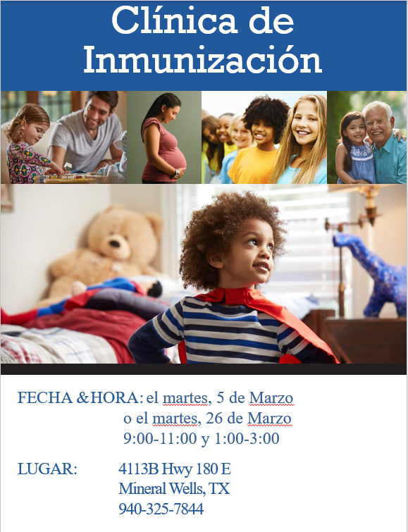 Flyer with immunization clinic dates and times.