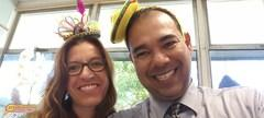 Crazy Hat Day with Mr. Olivas and Ms. Moore.