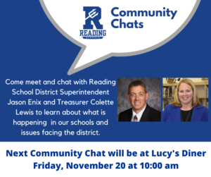 Next Community Chat with Superintendent Jason Enix and Treasurer Colette Lewis will take place Friday, November 20 at 10 am at Lucy's Diner