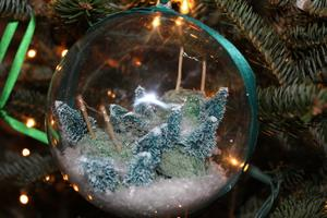 ornament with snow and trees inside
