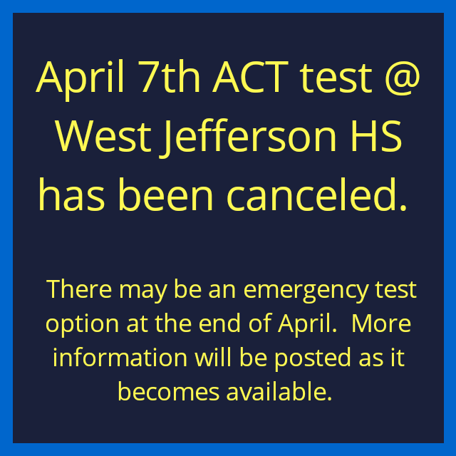 ACT test canceled