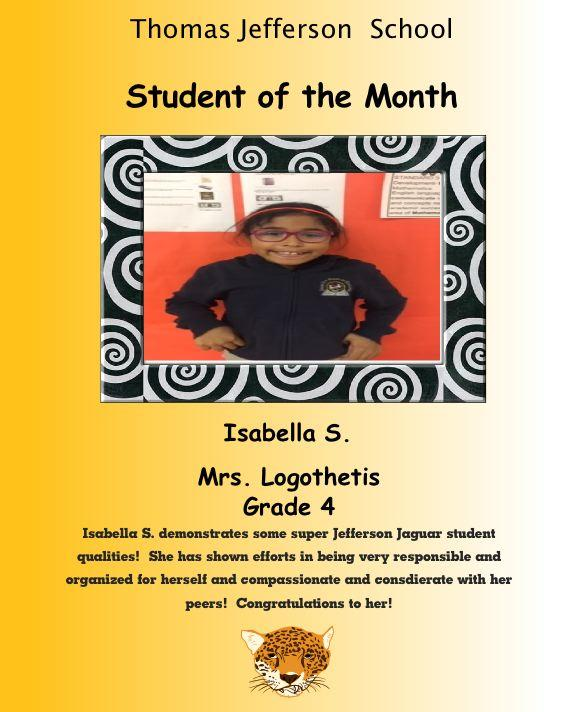 Isabel s student of the month