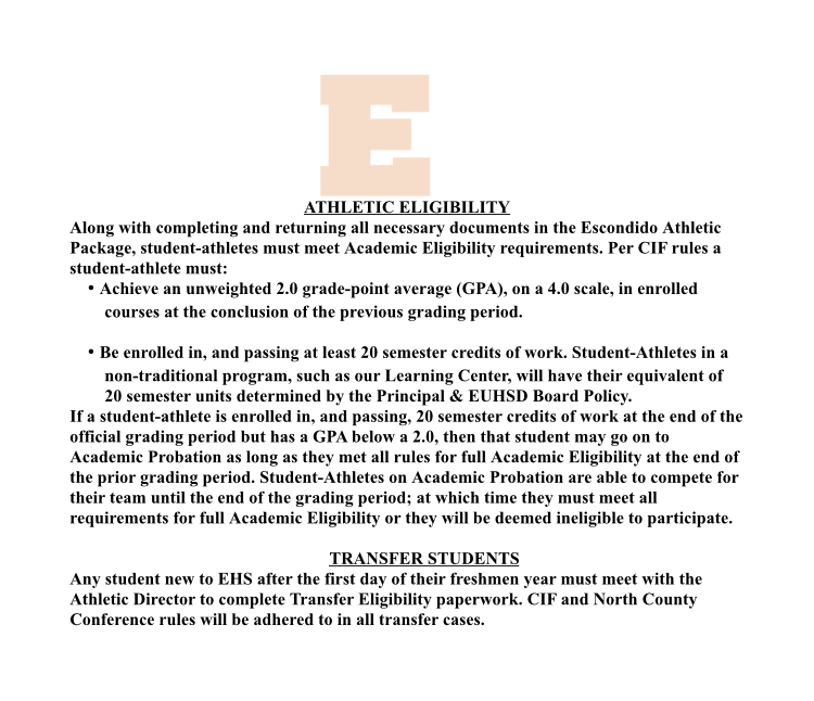 Athletic Eligibility and Transfer Students