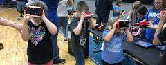 Kids use virtual reality goggles to take a field trip during the 2nd annual Bear Bytes Technology Expo. Students from every WSISD school showed participants how they use technology in the classroom.