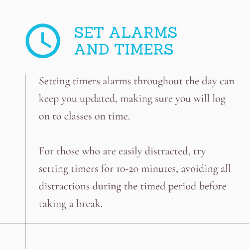 Distance Learning Tip - Set Alarms and Timers