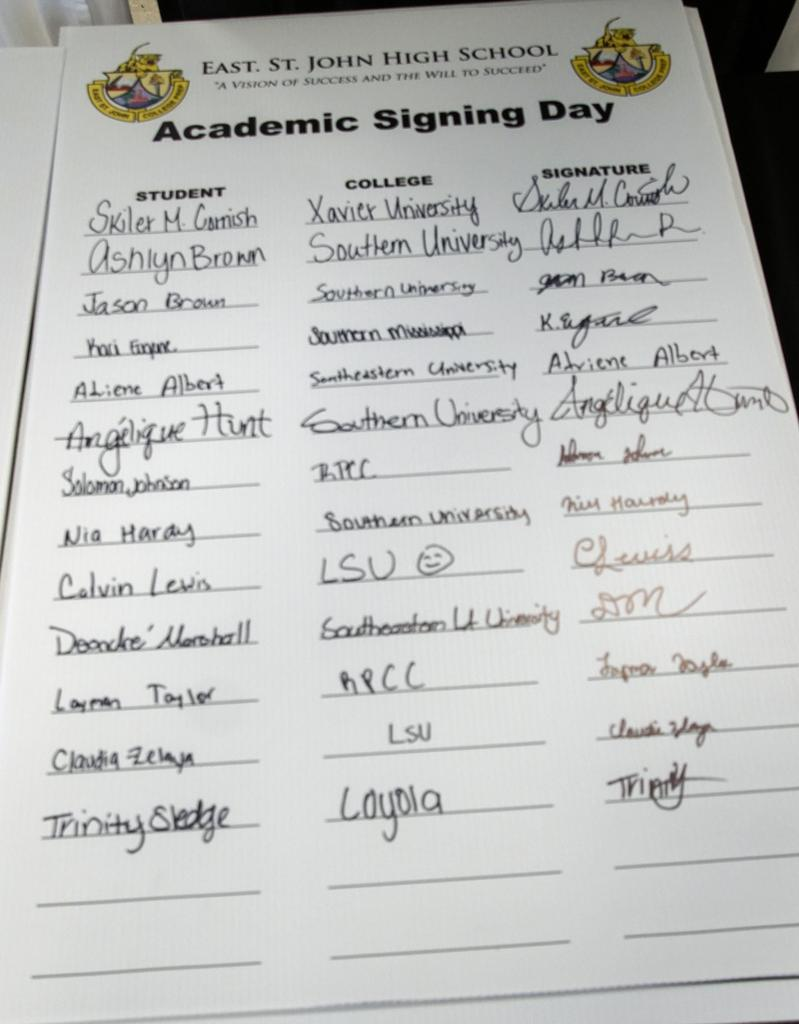 East St. John High School Academic Signing Day
