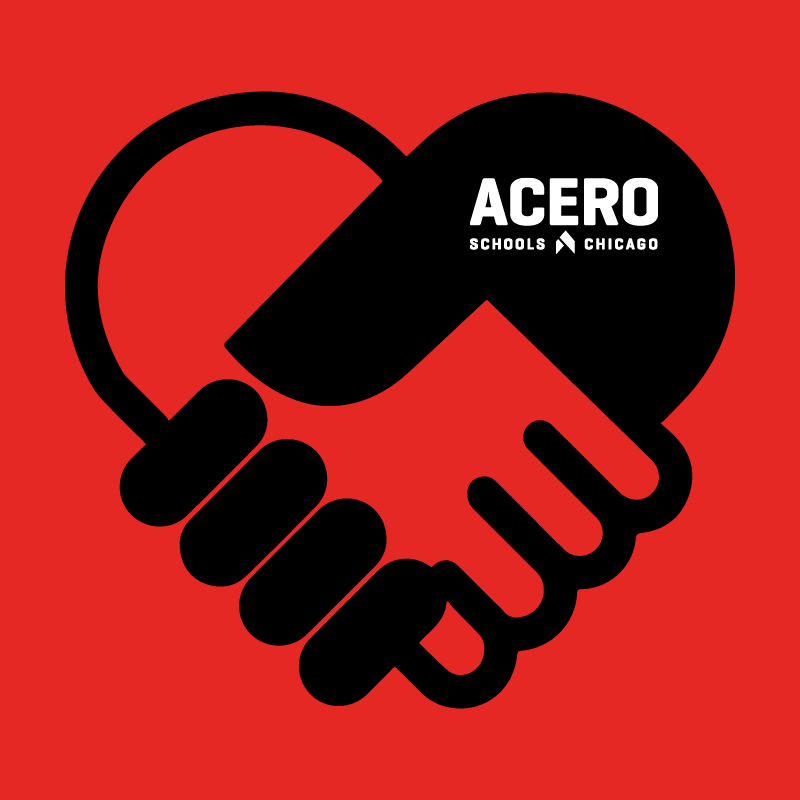 Image of two hands clasped over a red background with the acero schools logo