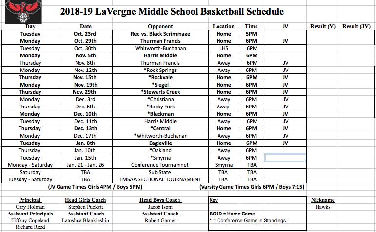 2018-2019 LMS Basketball Schedule