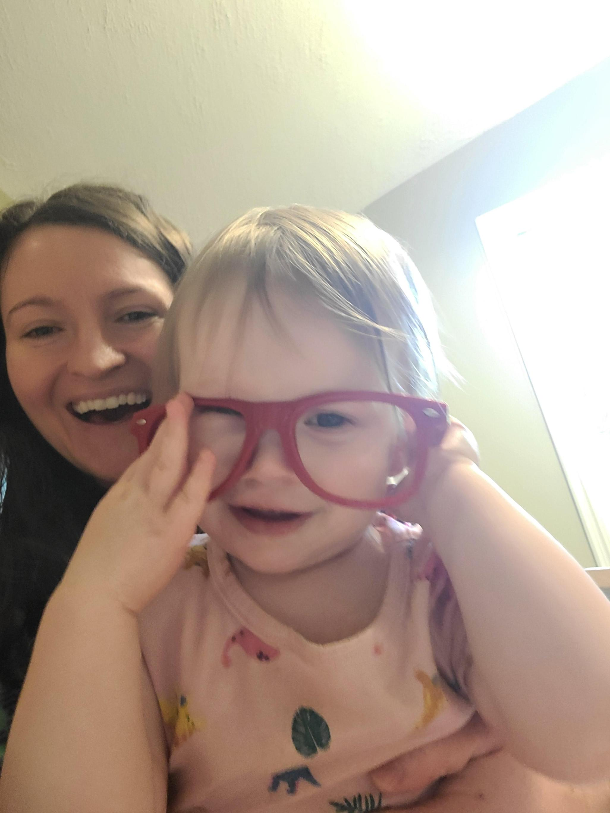 Ensley and I, playing with glasses