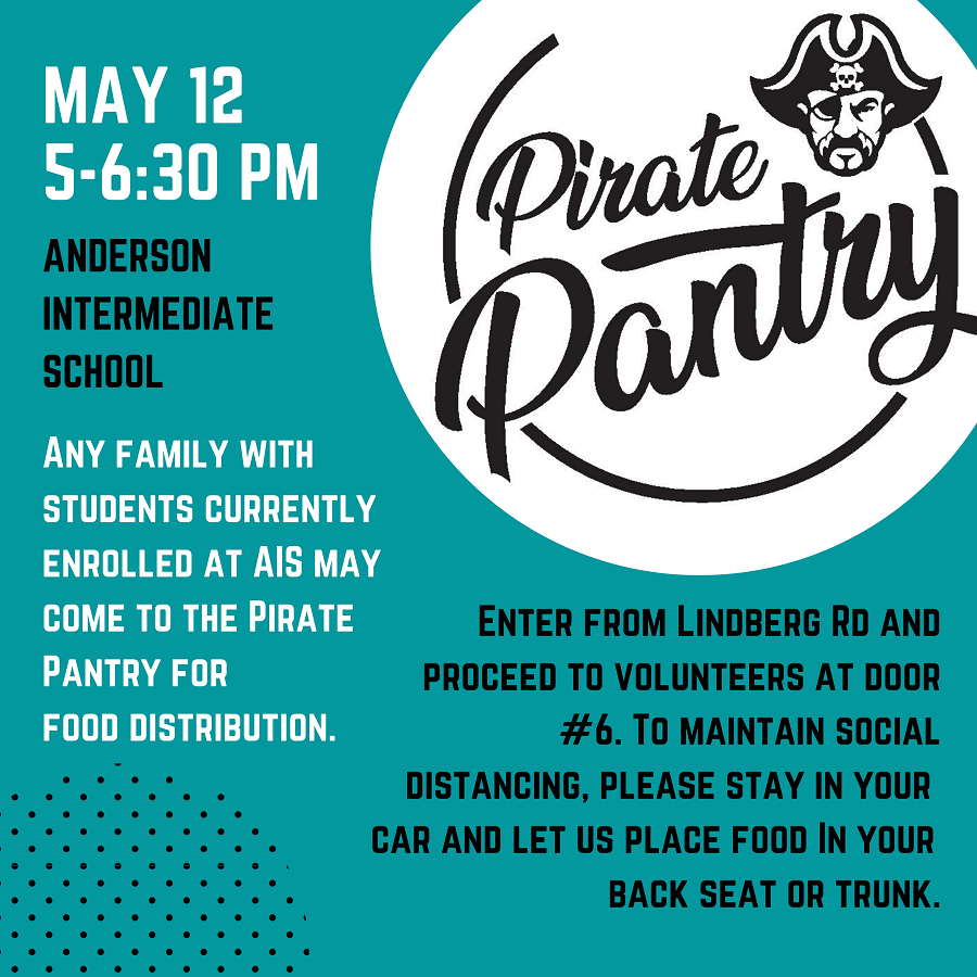 Pirate Pantry, May 2020, with instructions for food pick up