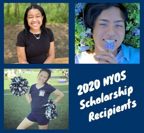 Photo of 3 NYOS students who received scholarships for the 19-20 school year.