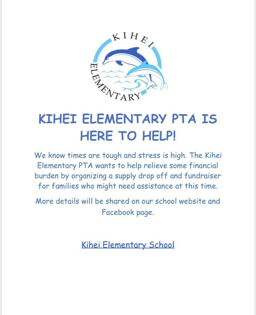 Kihei Elementary Schoo Suppy Drive