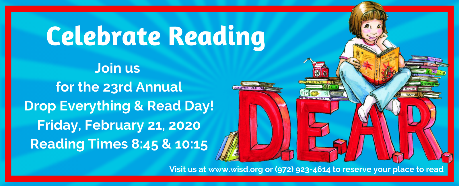Celebrate Reading with Drop Everything and Read Day on February 21, 2020