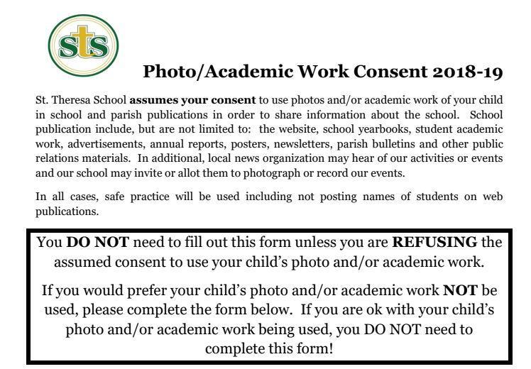 Photo/Academic Work Consent