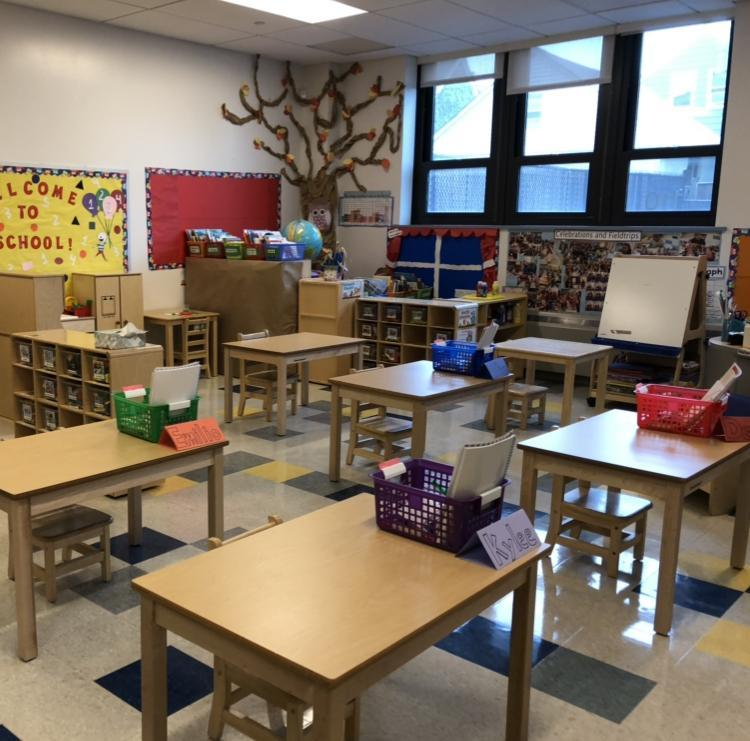 Classroom with baskets on tables