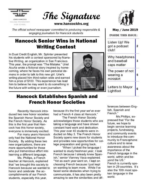May June Issue of the school paper