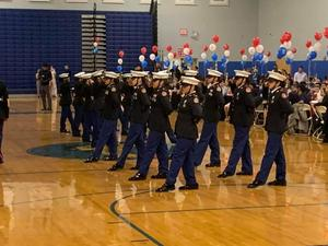 Female MC ROTC doing a unarmed drill