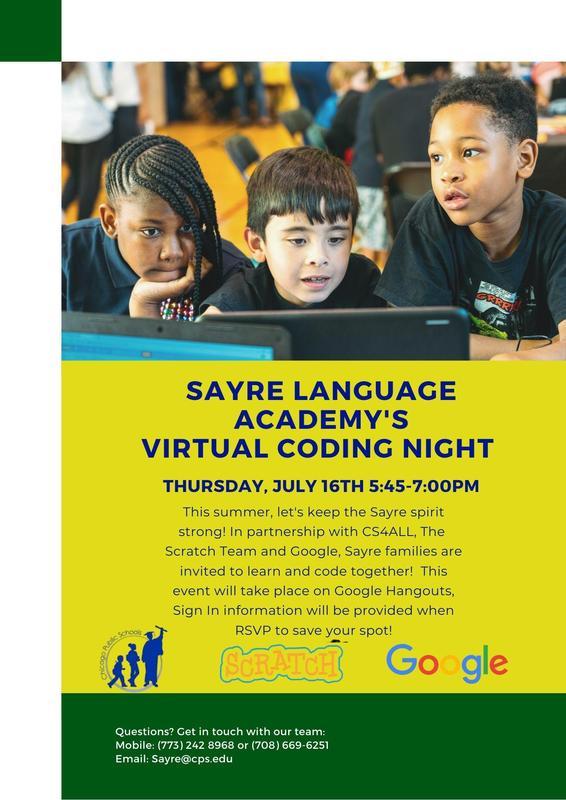 Sayre Language Academy Virtual Coding Night Featured Photo
