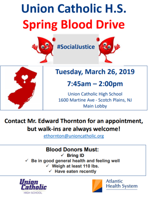Union Catholic will host a Blood Drive on Tuesday, March 26 Thumbnail Image