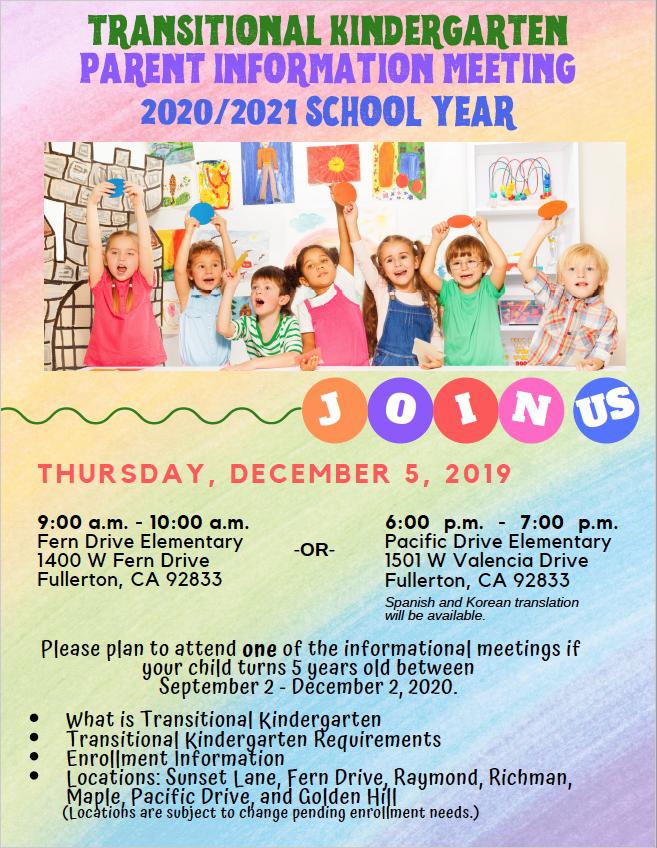 TK Parent Meeting Flyer - English