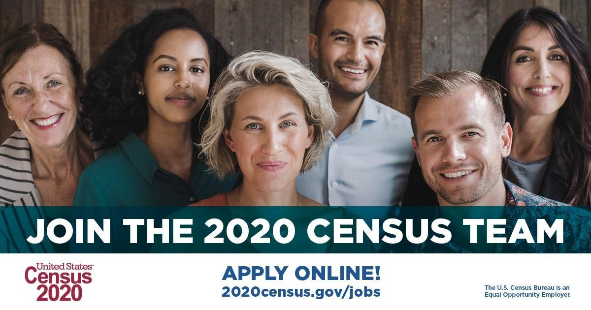 "Six diverse individuals standing together for a group photo ""Join the 2020 Census Team"""