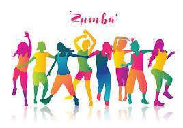 multicolored silhouettes of zumba dancers in different poses