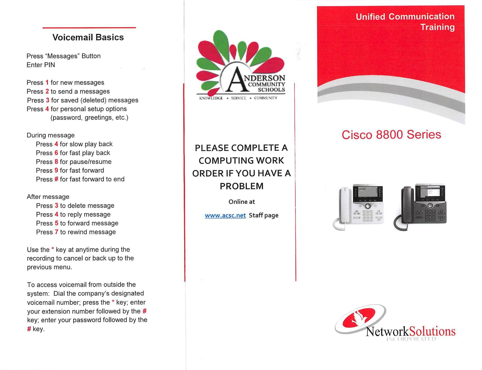 Cisco 8800 VOIP phone instructions p 1