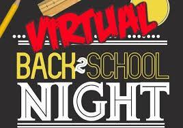 VIRTUAL BACK TO SCHOOL NIGHT WEDNESDAY, AUGUST 25, 2021  (3pm-4pm) Thumbnail Image