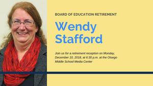 Graphic with Wendy's picture and retirement reception details. Details are also in article.