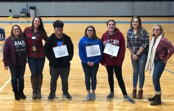 Brewer Middle School Spelling Bee winners are: Walid Esmaiel-Cruz, first place; Addy Wright, second; and Charlotte Thornburg, third. Teachers are Allison Speer, Hannah Brown, Elizabeth Hintermeier, and Rebecca Jordan.
