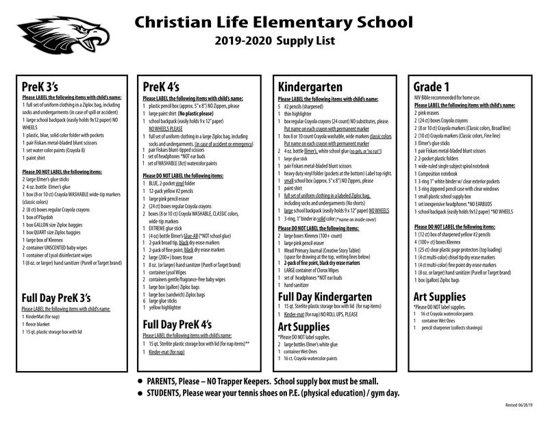 Triangle Elementary School Supply List - School Style