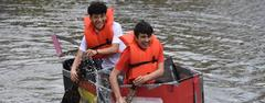 More than 200 students in Brewer High School's engineering and physics classes designed and created 48 cardboard boats made solely out of cardboard and duct tape. Teams of four then raced across the school pond during the annual Cardboard Boat Regatta on May 17.