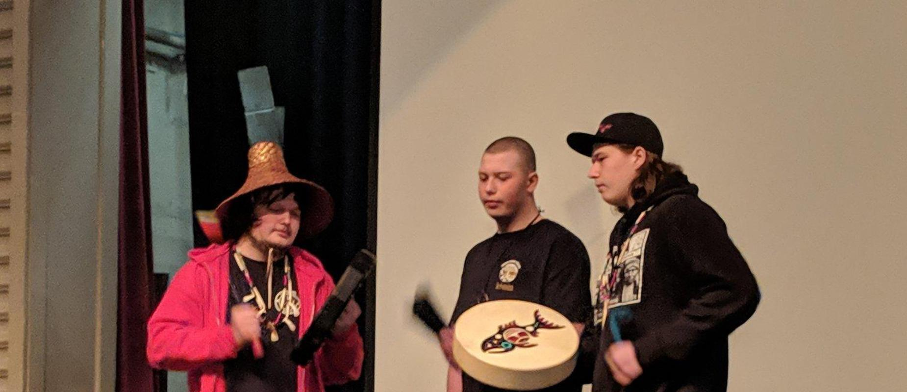 Opening Day Native American Students on Stage