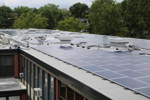 Photo of solar panels on roof of Westfield High School.