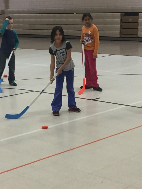 students playing hockey