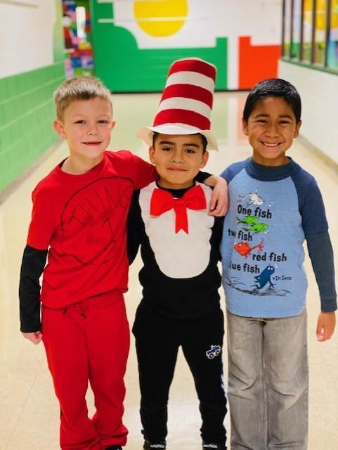 three boys dress like cat in the hat