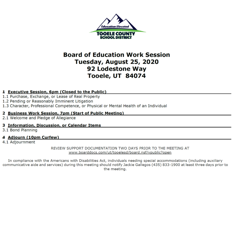 BOE work meeting agenda