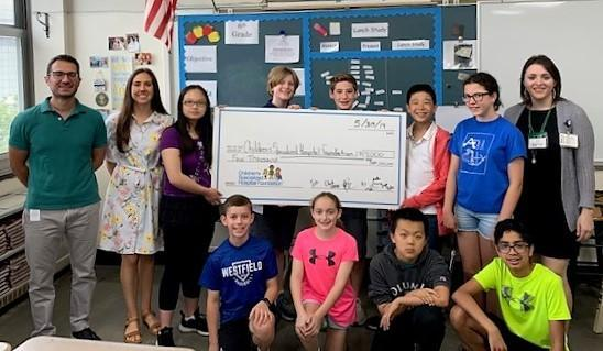 Top Row: Student government advisers Andrew Cusumano and Caitlin D'Angelo, Yumin Lin, Charles Jeckell, Michael Fisher, Yenjay Hu, Elizabeth Miles, Alexis D'Anton of Children's Specialized Hospital. Bottom Row: Carson Donnelly, Gali Avni, Li Jiang, Shreyas Nair