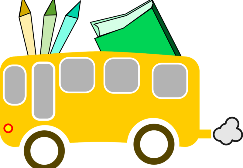 Cartoon Image of School Bus and Supplies