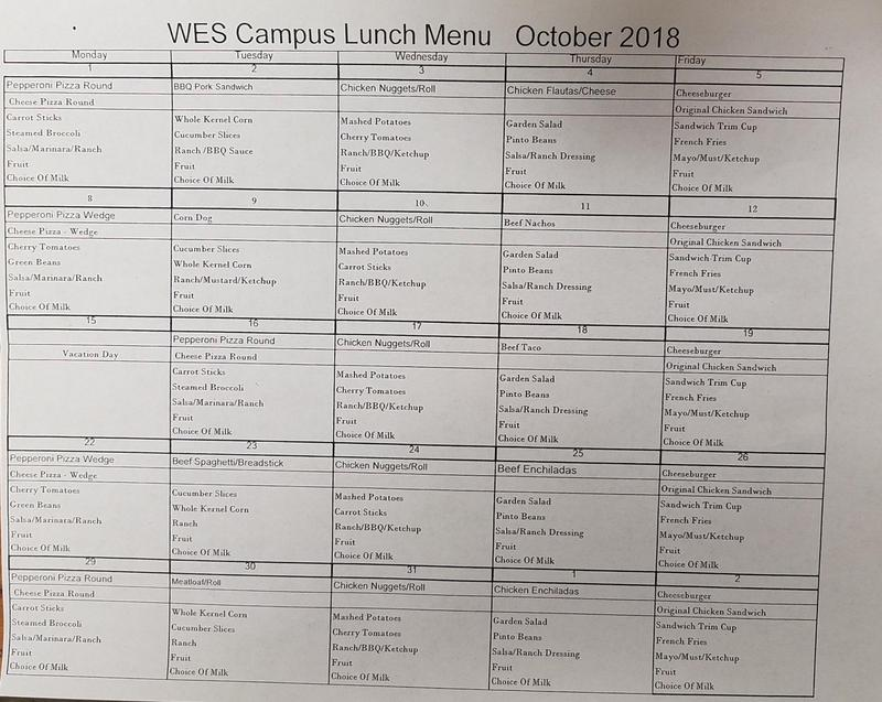 WES October 2018 Lunches