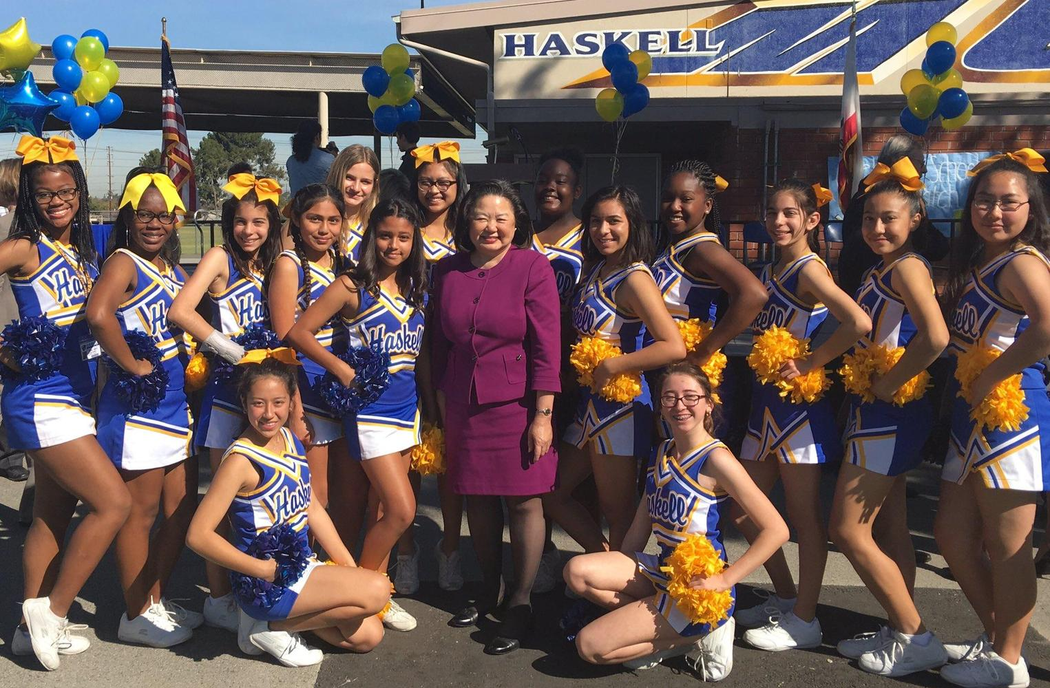 Haskell Cheerleaders and Dr. Sieu