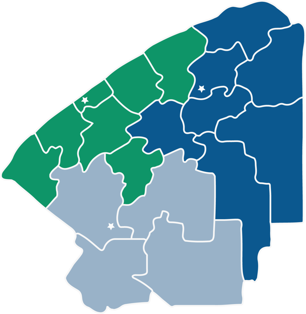 map of St. Lawrence county divided by school district