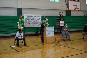 School Board member speaks at Mr. Atwell's celebration ceremony