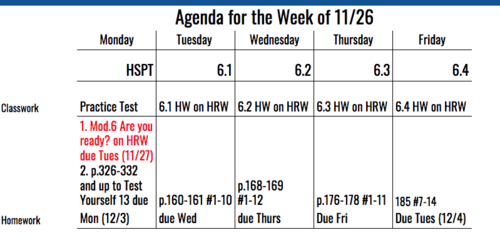 8th Grade Agenda for Week of 11/26